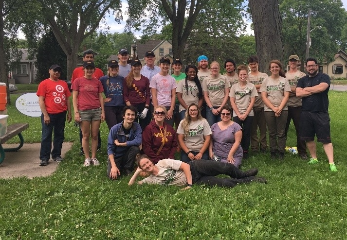 Conservation Corps members and volunteers from the Longfellow Raingarden project